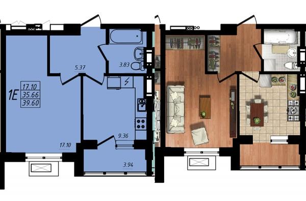 Планировки однокомнатных квартир 38.87 м^2